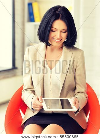picture of happy woman with tablet pc computer