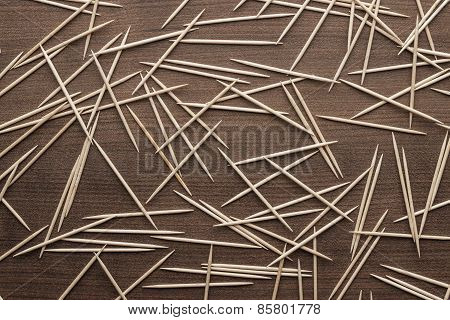 wooden toothpicks on the table background