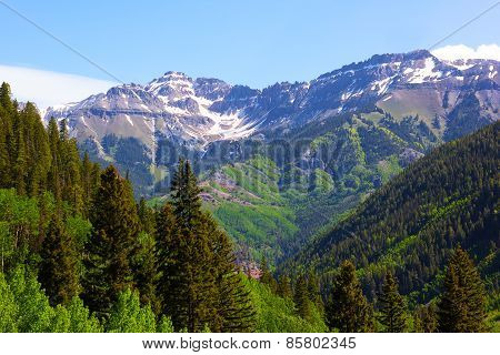 Panorama of the mountains surrounding Telluride in Colorado USA.