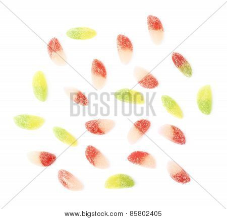 Sugar coated jelly candies isolated