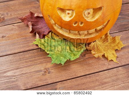 Scary jack o lantern pumpkin composition