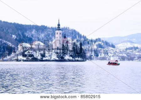 Winter Landscape Of Bled Lake, Slovenia