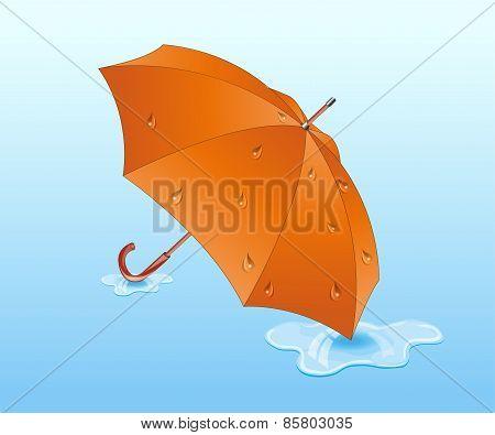Orange umbrella.