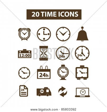 20 time, timer, clocks isolated icons, signs, illustrations collection concept design set for web and application on background, vector