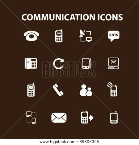 communication, connection icons, signs, illustrations concept design set on background, vector