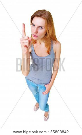 Woman showing finger up sign full length standing isolated