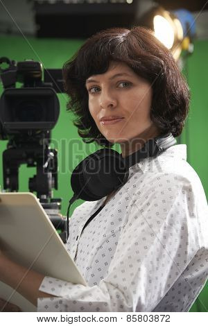 Portrait Of Floor Manager In Television Studio