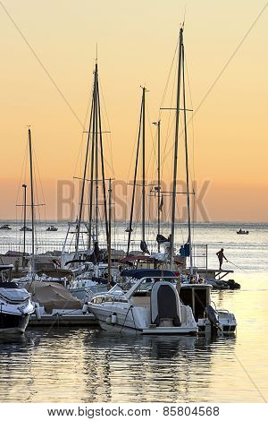 Marina Pier At Sunset