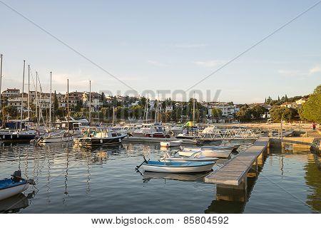 Rows Of Boats In Marina In Adriatic Sea Bay Harbor In Pula, Croatia