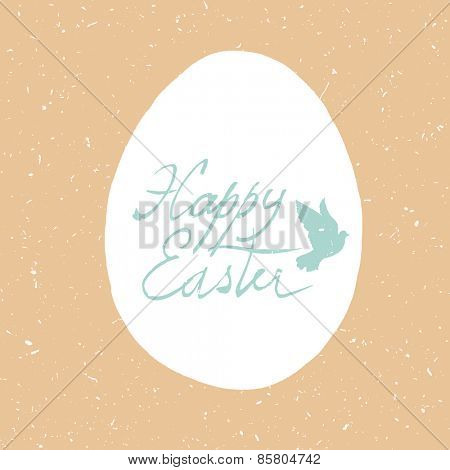 Easter Retro Card Design. Hand drawn, calligraphic symbol for Easter. Textured grunge background