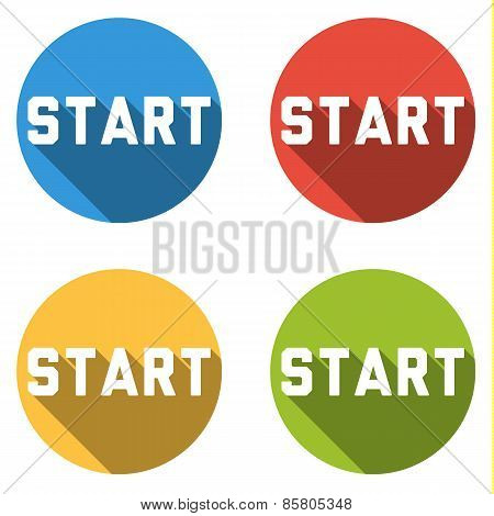 Collection Of 4 Isolated Flat Colorful Buttons For Start