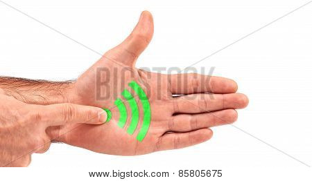 Man Clicks Wifi Button On His Open Palm