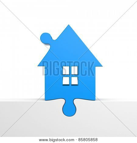 Blue house inserted as a puzzle. Symbolizes a new home.