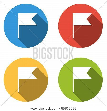 Collection Of 4 Isolated Flat Colorful Buttons (icons) For Pointer (flag)
