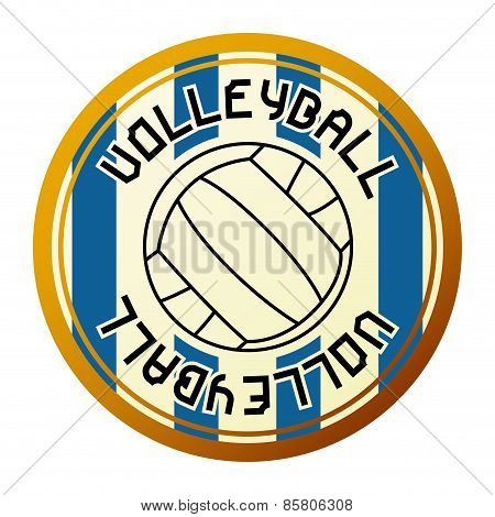 Volleyball sport emblem on a white background