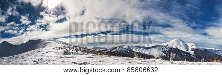 Panorama of mountains with snow-capped peaks