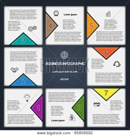 8 Options Numbered Templates For Infographic