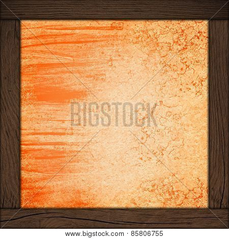 Abstract Wall Background With Wood Frame