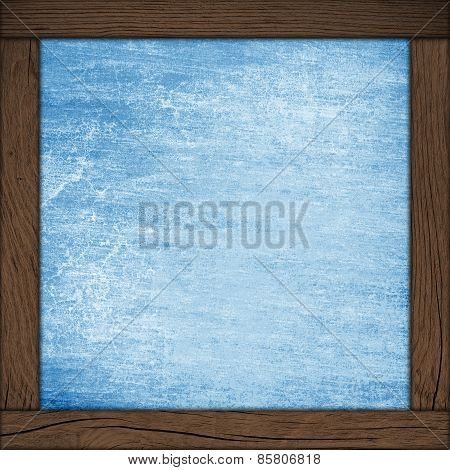 Abstract Blue Background With Wood Frame