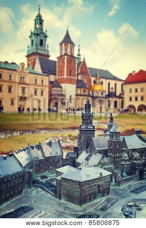 Model Of The Royal Castle In Krakow With Real Buildings In The Background, Braille System