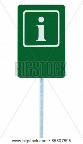 Info Sign In Green, White I Letter Icon And Frame, Blank Empty Copy Space Background, Isolated