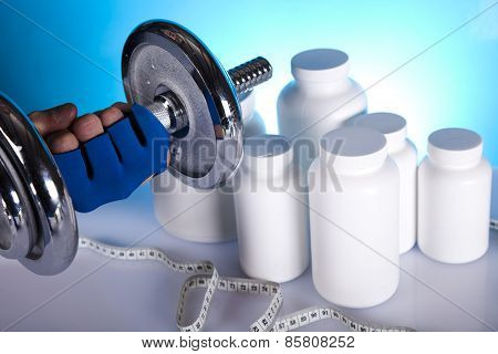 fitness dumbbells and supplements of diet