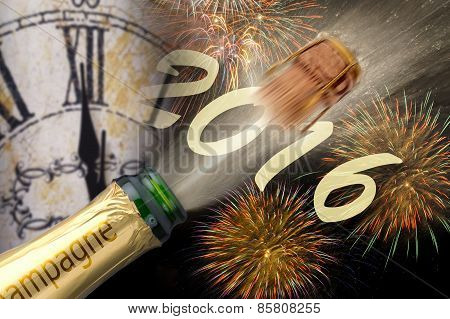 Happy new year 2016 with champagne