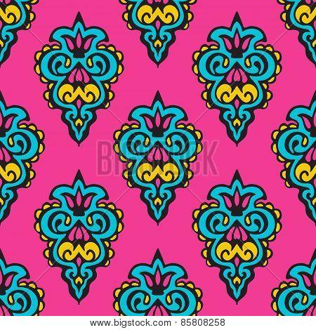 Pink floral damask vector design