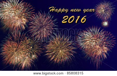 Happy new year 2016 with firework