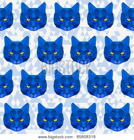 Abstract Bright Blue Colored Polygonal Geometric Triangle Cat Seamless Pattern