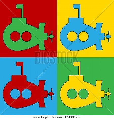 Pop Art Submarine Symbol Icons.