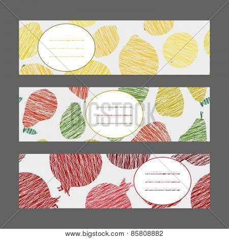 Serie of Harvest berry ornament. Set of Horizontal Fruit Banners. Vector Illustration.