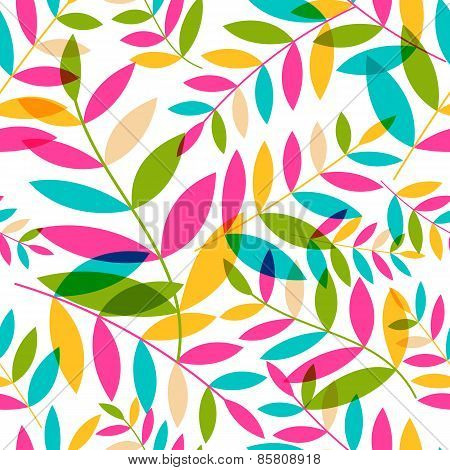 Seamless Pattern With Colorful Leaves. Vector Nature Background