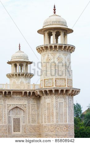 Minarets At The Tomb Of I Timad Ud Daulah In Agra, Uttar Pradesh, India