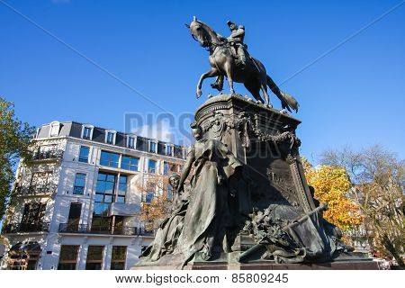 Equestrian Statue Of General Louis Faidherbe On Square Richebe In Lille, Inaugurated In 1896.