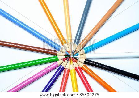 Closeup of pencil crayons