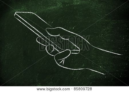Hand Holding Mobile Phone, Minimalist Design