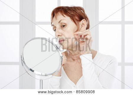 Sixty years old woman and care