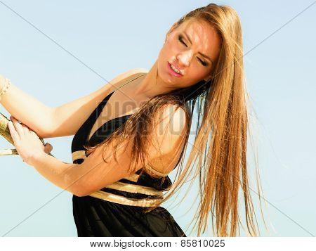 Happy Woman Outdoor On Beach.