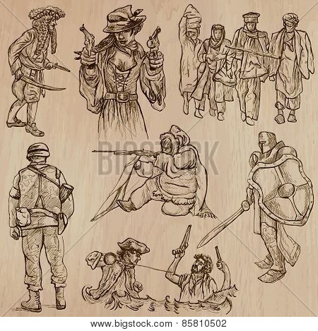 Warriors And Soldiers - Hand Drawn Vectors