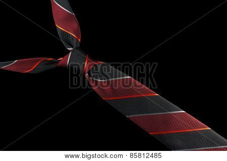 Necktie in silk with red, silver and black stripes