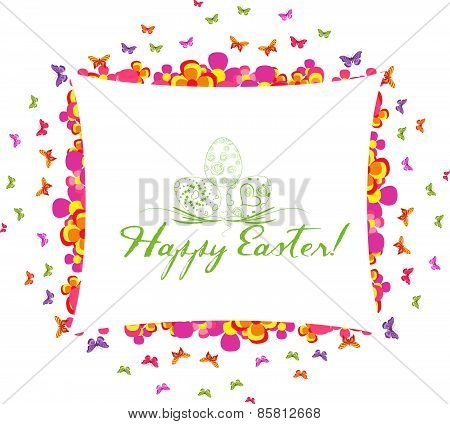 happy easter greeting card with flower colorful