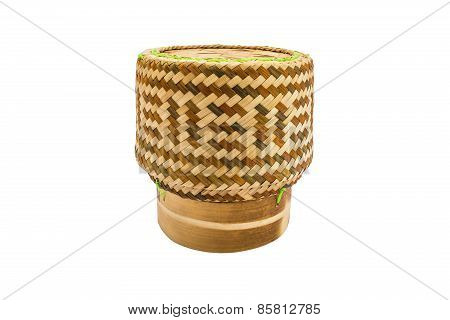 Thai  Bamboo Sticky Rice Container Isolate White Background With Clipping Phth