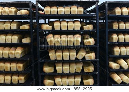 Baked Bread On The Shelf Stands