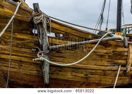 Anchor and rigging of an old replica of a 1400's era sailing ship.