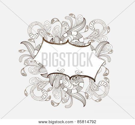 doodle florals picture frame