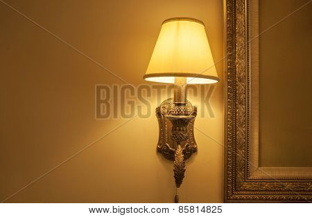 Close up of wall mounted lamp.