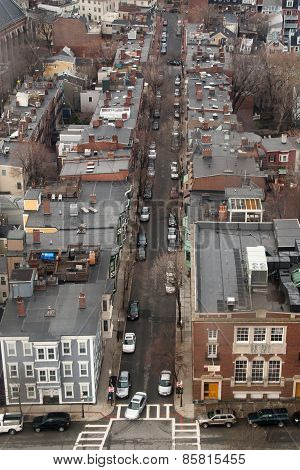 Overhead View Of A Street In Charlestown