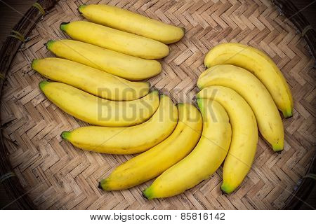 Ripe Bananas On A Bamboo Tray