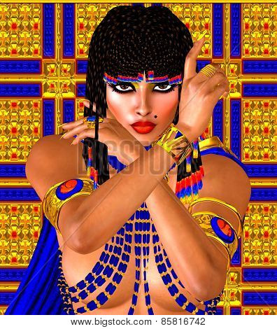 Cleopatra or any Egyptian Woman Pharaoh. Modern digital art fantasy